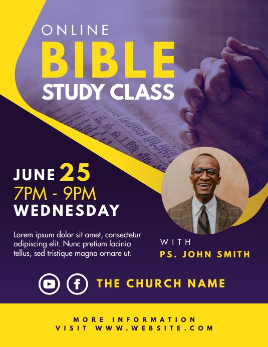 Online Bible Study Class 传单(美国信函) template