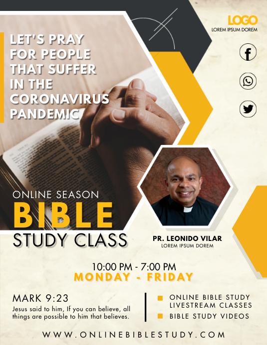 Online Bible Study Sessions Flyer 传单(美国信函) template