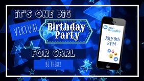 Online Birthday Party Invite Digital Display (16:9) template