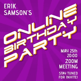 Online Birthday Party Zoom Meeting Live Message Instagram template