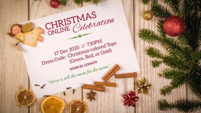 online Christmas Party Invite Digitalt display (16:9) template