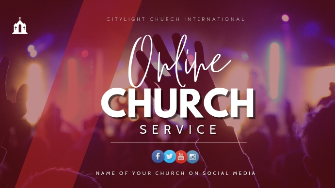 online church flyer Digitale display (16:9) template