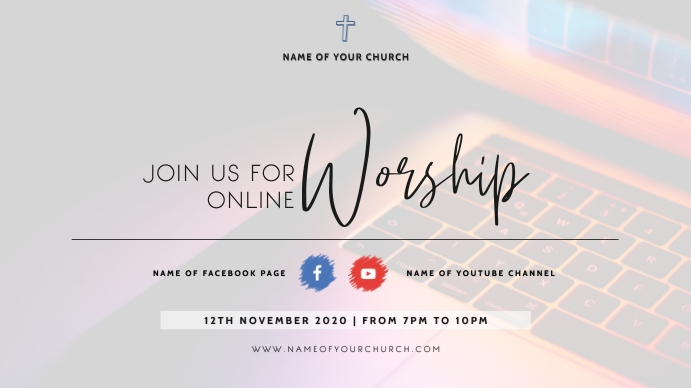 ONLINE church flyer Digitalt display (16:9) template