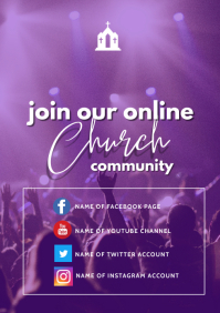 online church flyer A3 template