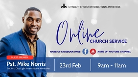 online church flyer Digital na Display (16:9) template