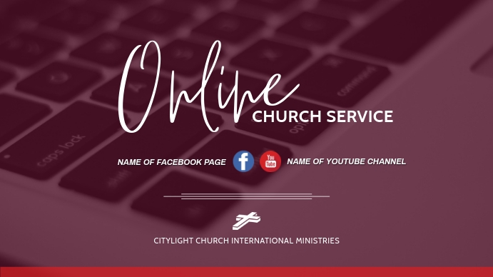online church flyer Digitalt display (16:9) template