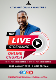 online church flyer A3 template