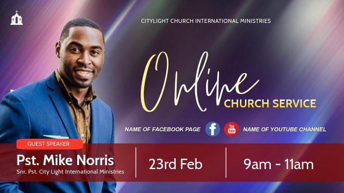 online church flyer Tampilan Digital (16:9) template