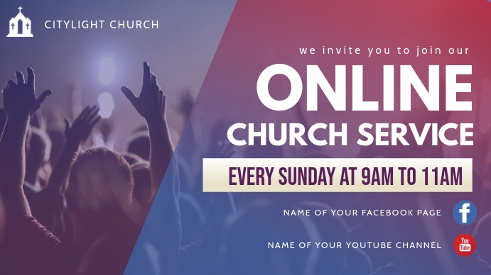 online church service Tampilan Digital (16:9) template