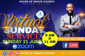 ONLINE CHURCH SERVICE Poster template