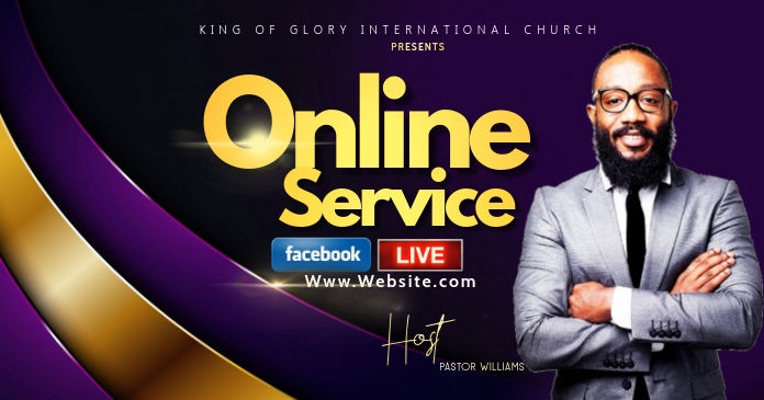 Online church service Facebook Gedeelde Prent template