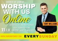 Online Church Service Postcard template