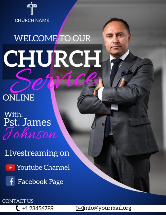 online church service flyer 传单(美国信函) template