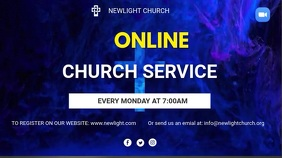 Online church service flyer Twitch Banner template
