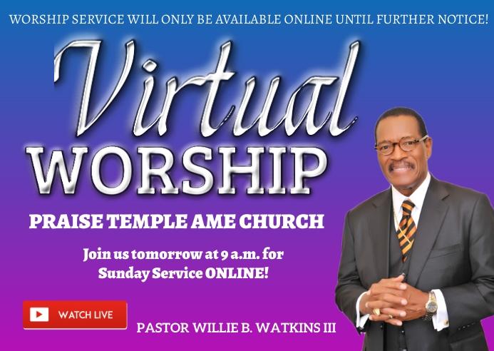 online church worship service virtual 明信片 template