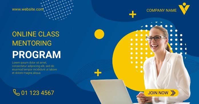 Online Class Business Program Flyer Template Imagem partilhada do Facebook