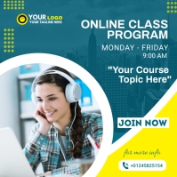 Online Classes course flyer Square (1:1) template