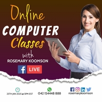 Online Computer Classes Poster Template for F Persegi (1:1)