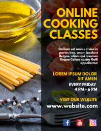 Online cooking classes flyer design template