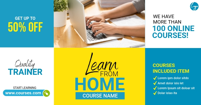 Online Course Facebook Shared Image template