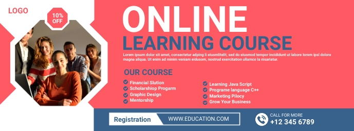 Online course Facebook Cover Photo template