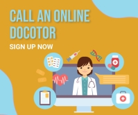 Online doctor,online appointment Retângulo grande template