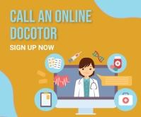 Online doctor,online appointment Großes Rechteck template