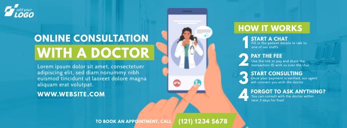 Online Doctor Consultation รูปภาพหน้าปก Facebook template