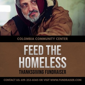 Online Feed the Homeless Charity Advert Square (1:1) template