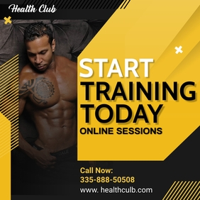 Online Fitness Classes Social Media Ad Template