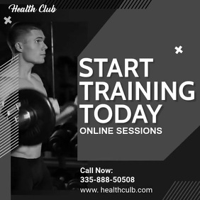 Online Fitness Classes Social Media Ad Templa Publicação no Instagram template