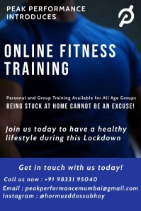 Online Fitness Training Poster Template