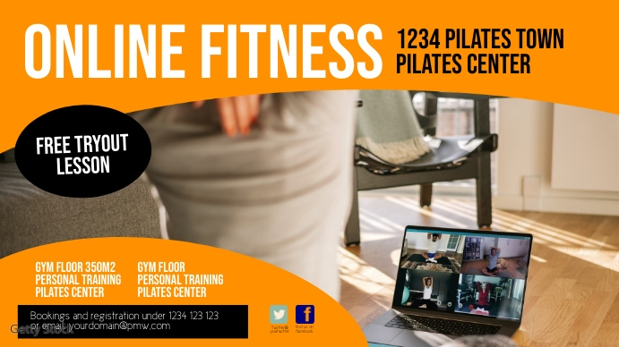 Online fitness training workout header cover Digitale display (16:9) template