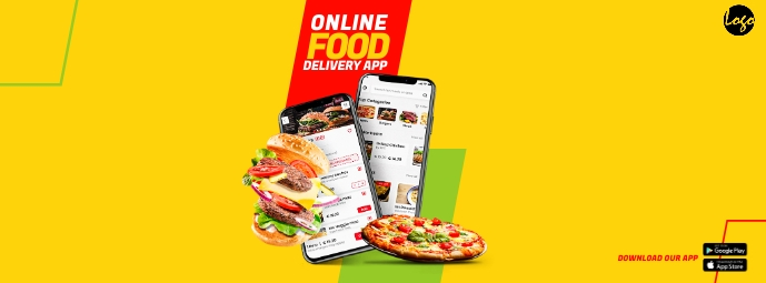 Online Food Delivery App Facebook Cover Photo template