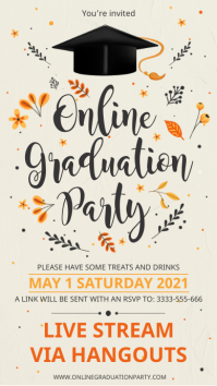 Online grad party digital display invitation template