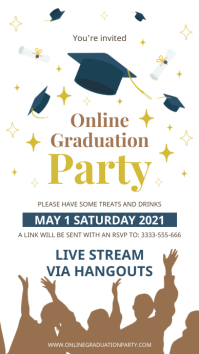 Online graduation party invite Digitalt display (9:16) template