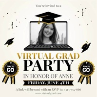Online graduation party livestream invitation Publicação no Instagram template