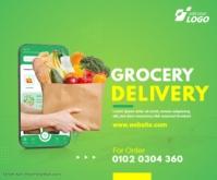 Online Grocery Delivery Ad สามเหลี่ยมขนาดใหญ่ template