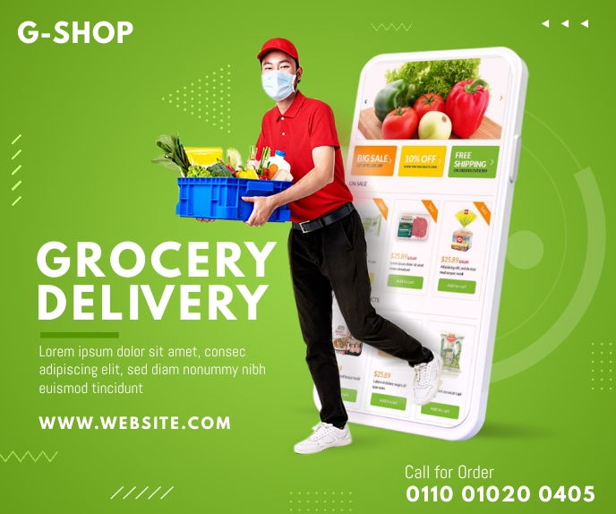 Online Grocery Delivery Ad Malaking Rektangle template
