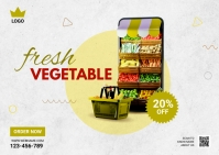 Online Grocery Delivery Ad Postcard template