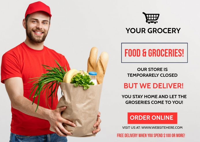 ONLINE GROCERY STORE SHOPPING AD Template 明信片