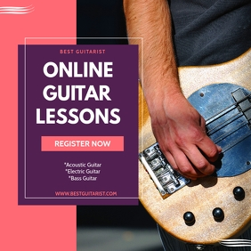 ONLINE GUITAR LESSONS Instagram Post template