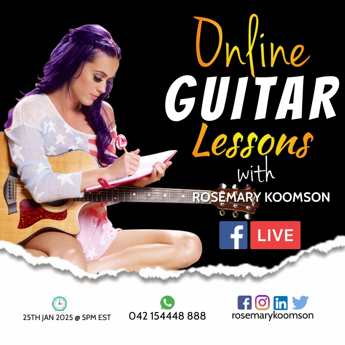 Online Guitar Lessons Poster Template for Fre Persegi (1:1)