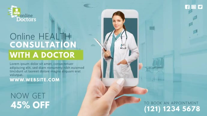 Online Health Consultation Ad Twitter Post template