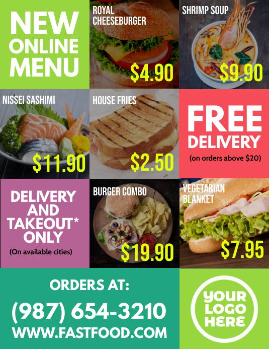 Online Menu Restaurant Mosaic Flyer