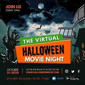 Online Movie night Invitation Square (1:1) template