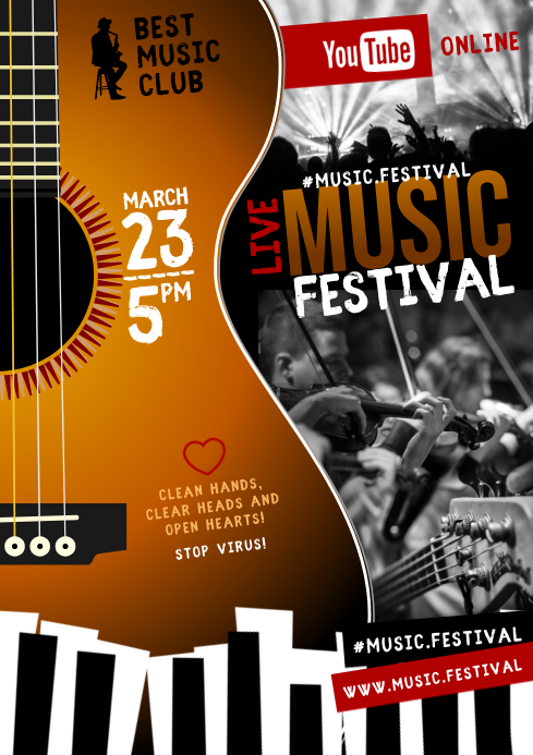 ONLINE MUSIC FESTIVAL POSTER A4 template