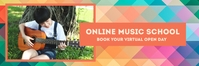 Online Music School Banner 2' × 6' template