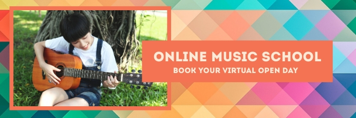 Online Music School Banner 2 x 6 fod template