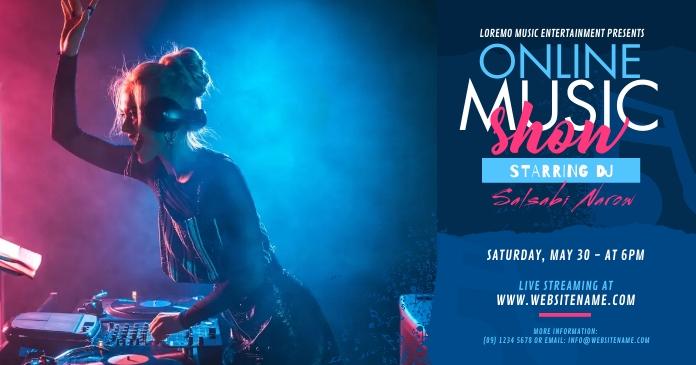 Online Music Show Ad Imagen Compartida en Facebook template